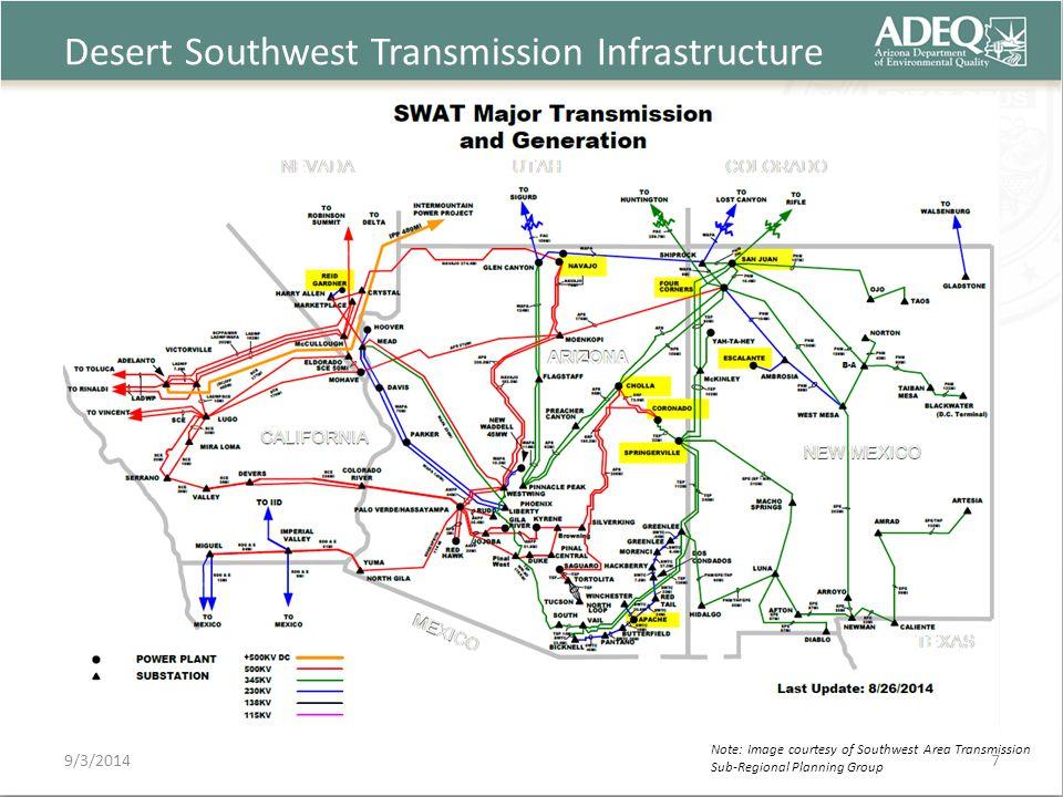 Desert Southwest Transmission Infrastructure 9/3/2014 Note: Image courtesy of Southwest Area Transmission Sub-Regional Planning Group 7