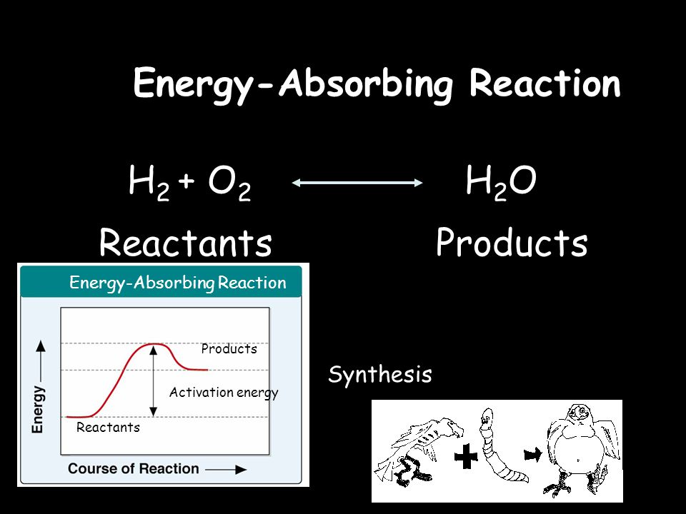 H 2 + O 2 H 2 O ReactantsProducts Energy-Absorbing Reaction Synthesis Activation energy Reactants Products Energy-Absorbing Reaction