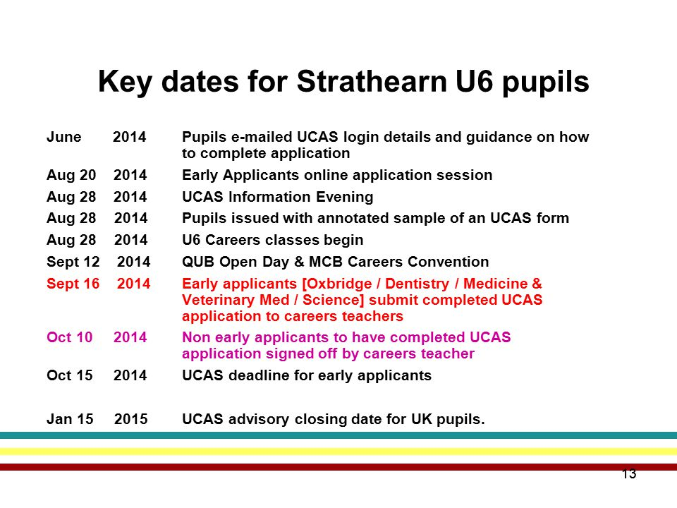 13 Key dates for Strathearn U6 pupils June 2014Pupils e-mailed UCAS login details and guidance on how to complete application Aug 20 2014Early Applicants online application session Aug 28 2014UCAS Information Evening Aug 28 2014 Pupils issued with annotated sample of an UCAS form Aug 28 2014U6 Careers classes begin Sept 12 2014QUB Open Day & MCB Careers Convention Sept 16 2014Early applicants [Oxbridge / Dentistry / Medicine & Veterinary Med / Science] submit completed UCAS application to careers teachers Oct 10 2014Non early applicants to have completed UCAS application signed off by careers teacher Oct 15 2014 UCAS deadline for early applicants Jan 15 2015UCAS advisory closing date for UK pupils.