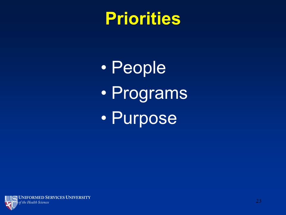 Priorities People Programs Purpose 23