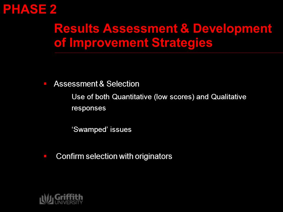 Results Assessment & Development of Improvement Strategies  Assessment & Selection Use of both Quantitative (low scores) and Qualitative responses 'Swamped' issues  Confirm selection with originators PHASE 2