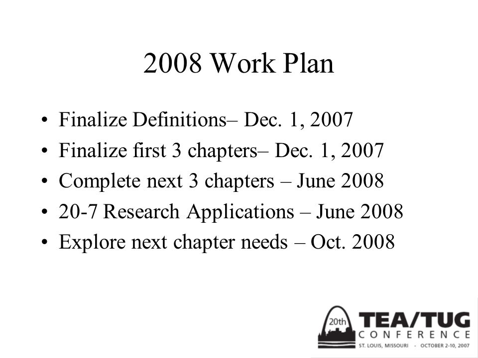 2008 Work Plan Finalize Definitions– Dec. 1, 2007 Finalize first 3 chapters– Dec. 1, 2007 Complete next 3 chapters – June 2008 20-7 Research Applicati