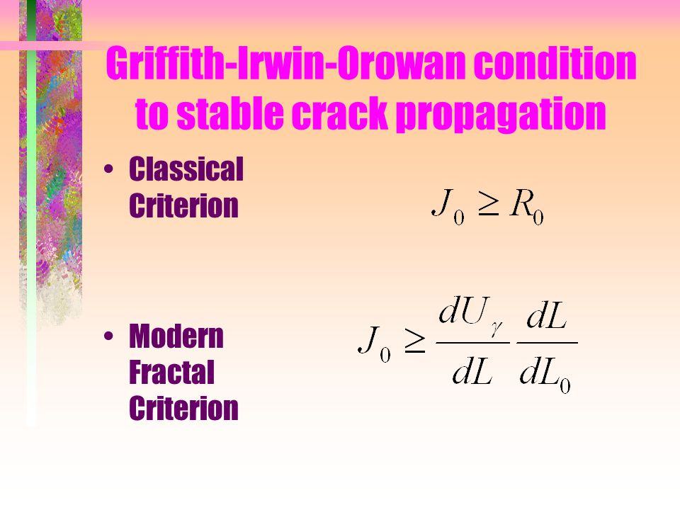 Griffith-Irwin-Orowan condition to stable crack propagation Classical Criterion Modern Fractal Criterion