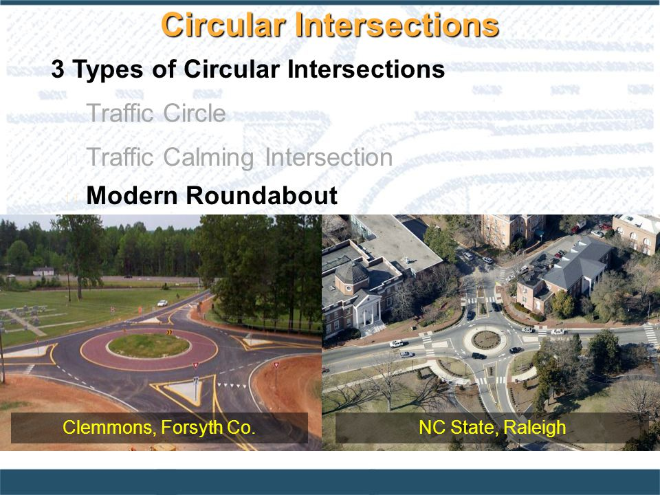 3 Types of Circular Intersections Traffic Circle Traffic Calming Intersection l Modern Roundabout Clemmons, Forsyth Co.NC State, Raleigh Circular Intersections