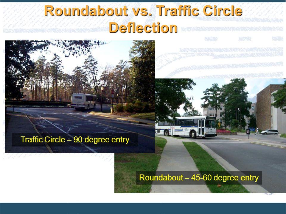 Roundabout vs. Traffic Circle Deflection Roundabout – 45-60 degree entry Traffic Circle – 90 degree entry