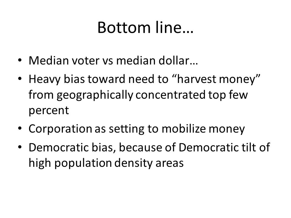 Bottom line… Median voter vs median dollar… Heavy bias toward need to harvest money from geographically concentrated top few percent Corporation as setting to mobilize money Democratic bias, because of Democratic tilt of high population density areas
