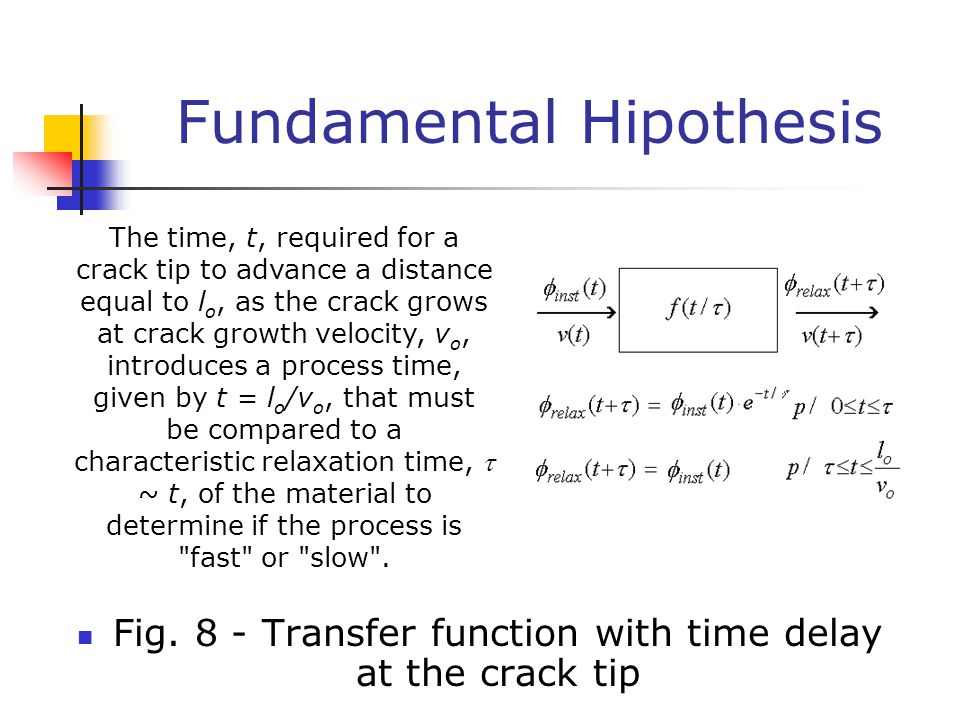Fundamental Hipothesis Fig. 8 - Transfer function with time delay at the crack tip The time, t, required for a crack tip to advance a distance equal t