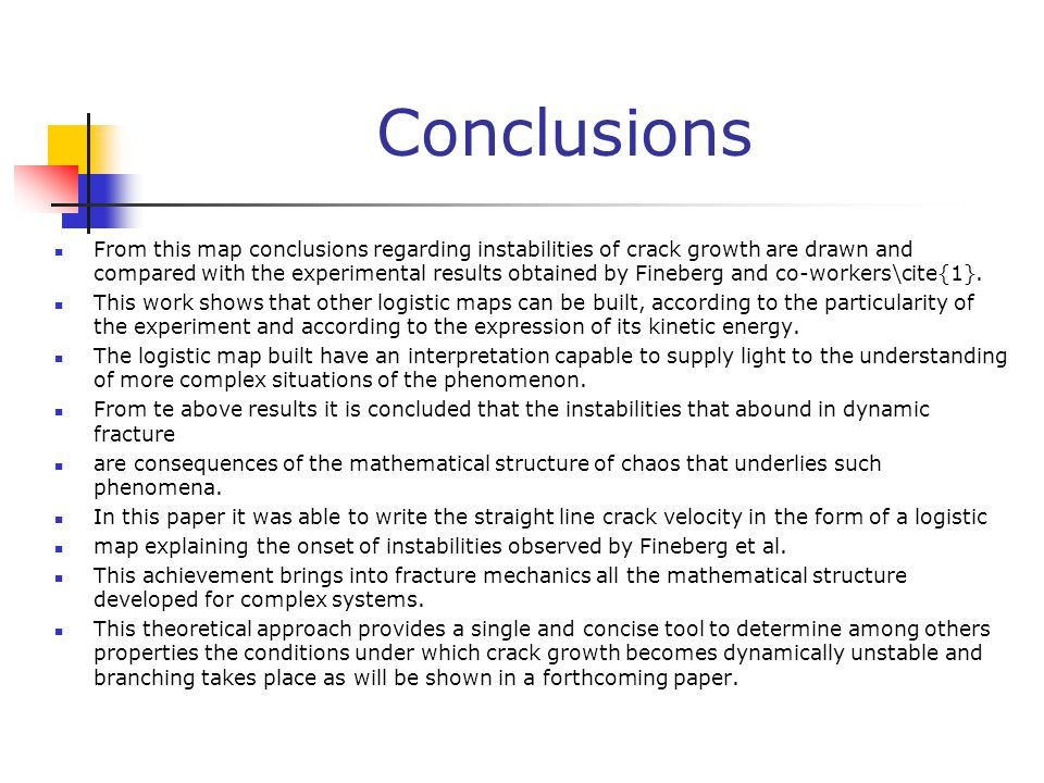Conclusions From this map conclusions regarding instabilities of crack growth are drawn and compared with the experimental results obtained by Fineberg and co-workers\cite{1}.