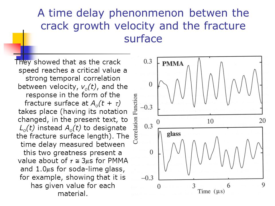 A time delay phenonmenon betwen the crack growth velocity and the fracture surface They showed that as the crack speed reaches a critical value a strong temporal correlation between velocity, v o (t), and the response in the form of the fracture surface at A o (t + ) takes place (having its notation changed, in the present text, to L o (t) instead A o (t) to designate the fracture surface length).