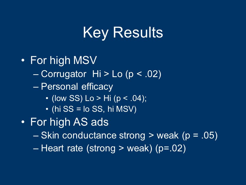 Key Results For high MSV –Corrugator Hi > Lo (p <.02) –Personal efficacy (low SS) Lo > Hi (p <.04); (hi SS = lo SS, hi MSV) For high AS ads –Skin conductance strong > weak (p =.05) –Heart rate (strong > weak) (p=.02)