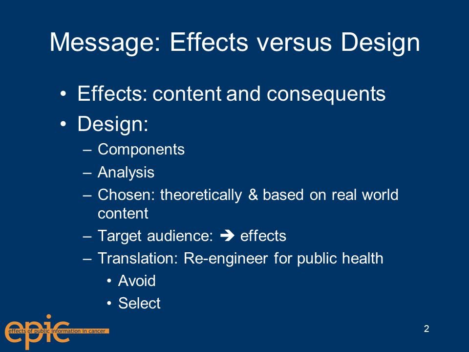 Message Components Content: what the message is about –Persuasive  Claims Offer reasons for and reject reasons against Implicit or explicit Format: how the what is presented –Equivalence Logical Topical, conceptual, propositional 3
