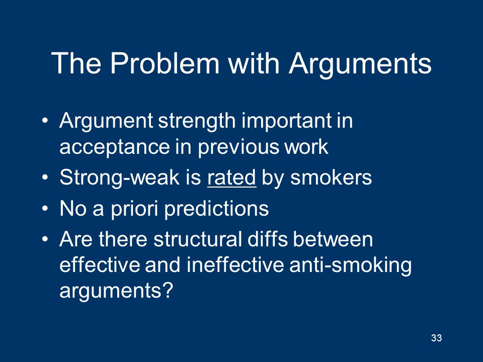 The Problem with Arguments Argument strength important in acceptance in previous work Strong-weak is rated by smokers No a priori predictions Are there structural diffs between effective and ineffective anti-smoking arguments.