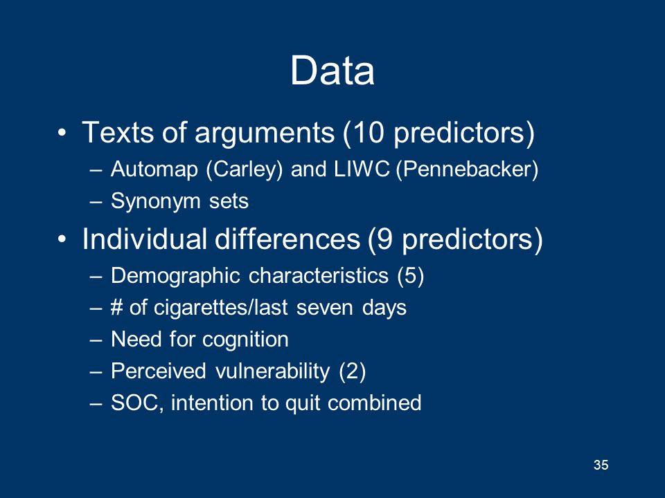 Data Texts of arguments (10 predictors) –Automap (Carley) and LIWC (Pennebacker) –Synonym sets Individual differences (9 predictors) –Demographic characteristics (5) –# of cigarettes/last seven days –Need for cognition –Perceived vulnerability (2) –SOC, intention to quit combined 35