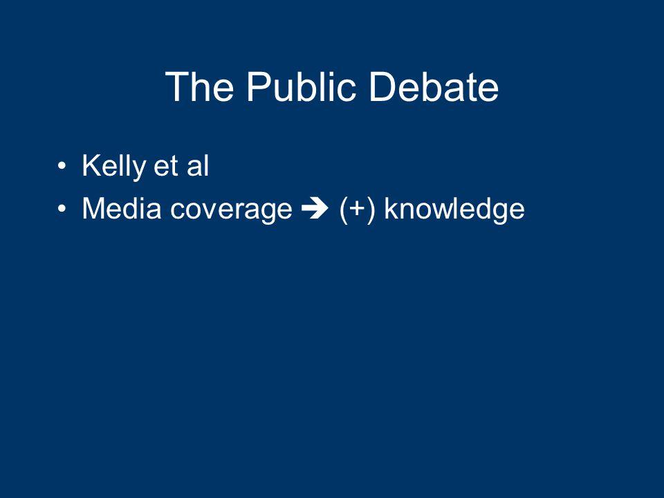 The Public Debate Kelly et al Media coverage  (+) knowledge