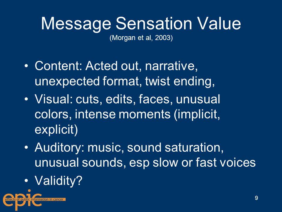 Message Sensation Value (Morgan et al, 2003) Content: Acted out, narrative, unexpected format, twist ending, Visual: cuts, edits, faces, unusual colors, intense moments (implicit, explicit) Auditory: music, sound saturation, unusual sounds, esp slow or fast voices Validity.