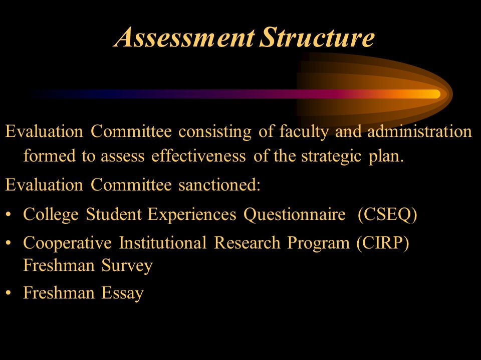 Assessment Structure Evaluation Committee consisting of faculty and administration formed to assess effectiveness of the strategic plan.
