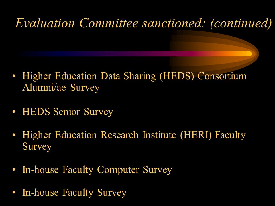 Evaluation Committee sanctioned: (continued) Higher Education Data Sharing (HEDS) Consortium Alumni/ae Survey HEDS Senior Survey Higher Education Research Institute (HERI) Faculty Survey In-house Faculty Computer Survey In-house Faculty Survey