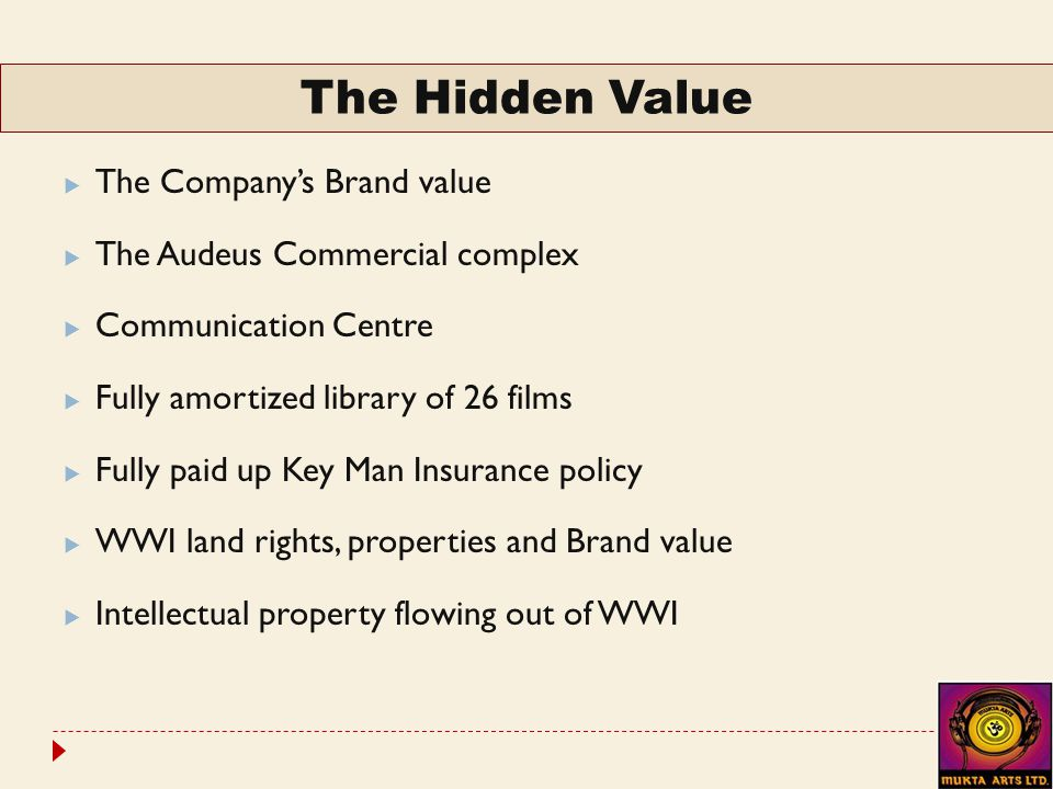  The Company's Brand value  The Audeus Commercial complex  Communication Centre  Fully amortized library of 26 films  Fully paid up Key Man Insurance policy  WWI land rights, properties and Brand value  Intellectual property flowing out of WWI The Hidden Value