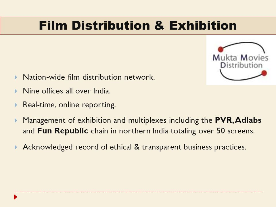 Expansion In Exhibition  Booking Agency tie-up with major Multiplex chains include: PVR Adlabs Wave Fun DT  Tie-ups with several single screens