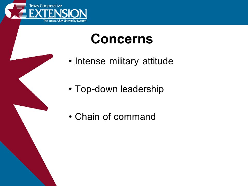 Concerns Intense military attitude Top-down leadership Chain of command