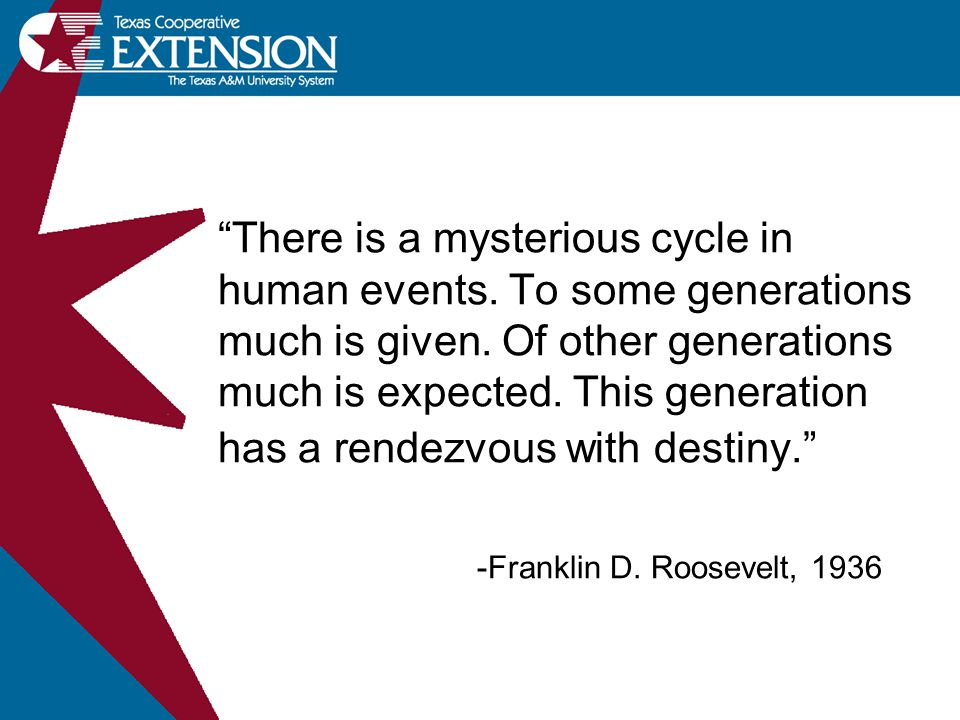 There is a mysterious cycle in human events. To some generations much is given.