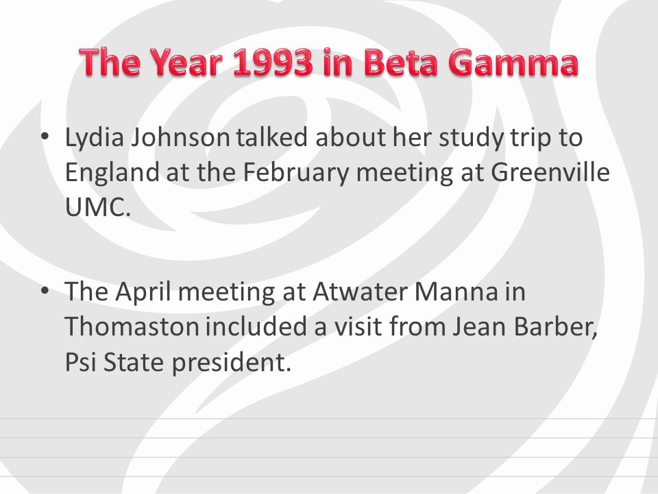 Lydia Johnson talked about her study trip to England at the February meeting at Greenville UMC.