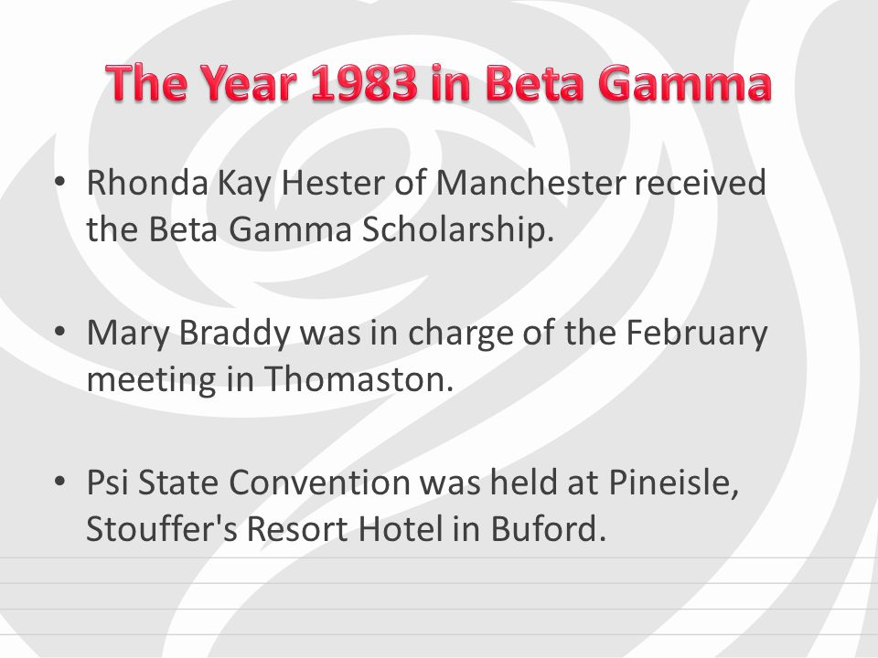 Rhonda Kay Hester of Manchester received the Beta Gamma Scholarship.