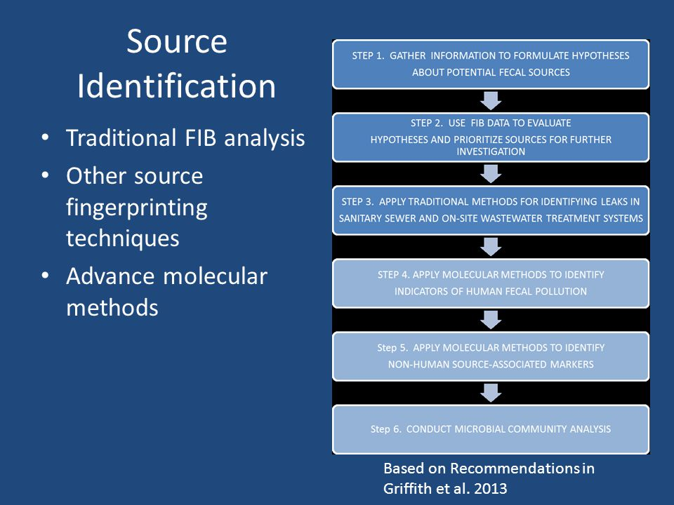 Source Identification Traditional FIB analysis Other source fingerprinting techniques Advance molecular methods Based on Recommendations in Griffith et al.