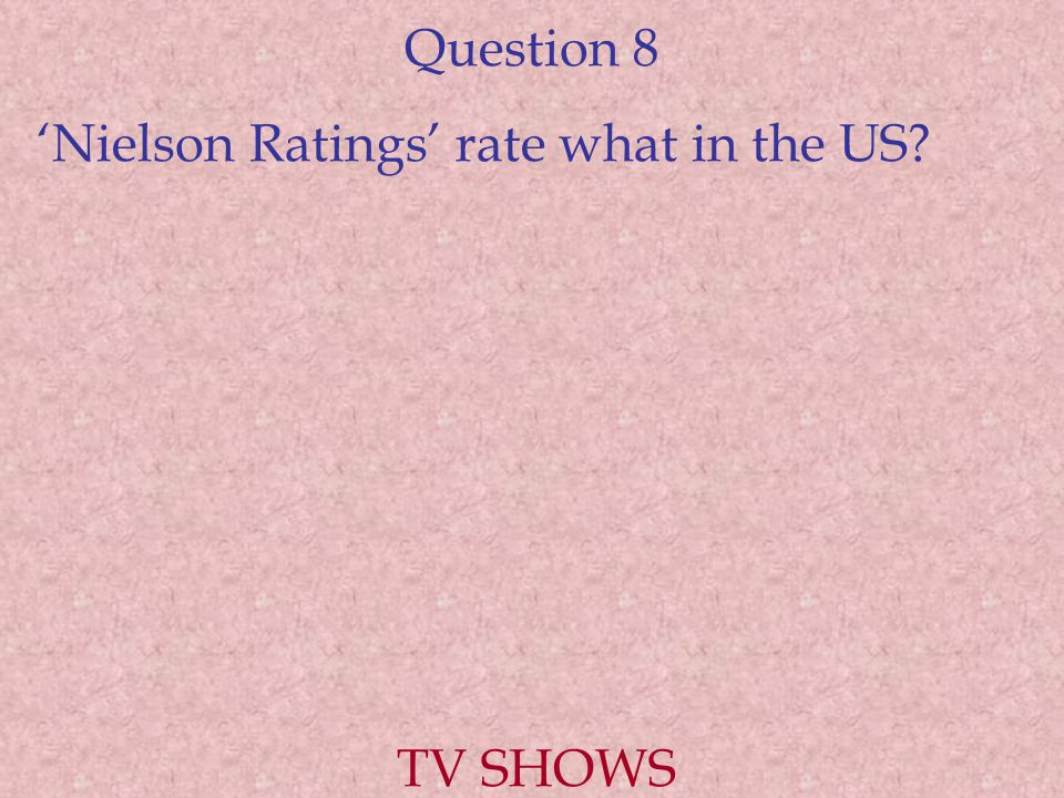 Question 8 'Nielson Ratings' rate what in the US? TV SHOWS