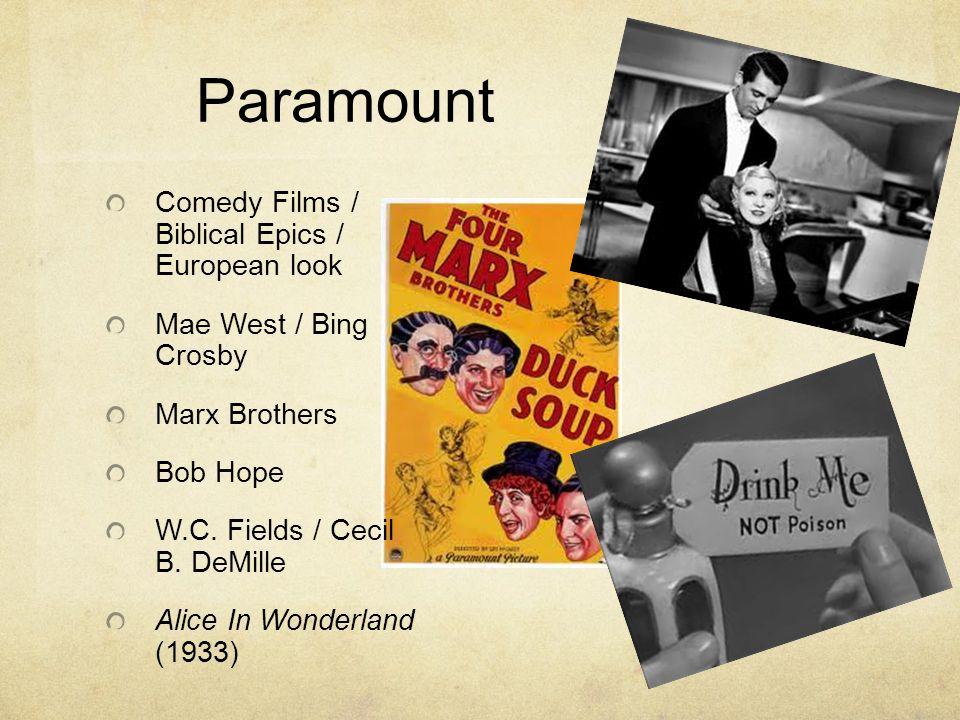 Paramount Comedy Films / Biblical Epics / European look Mae West / Bing Crosby Marx Brothers Bob Hope W.C. Fields / Cecil B. DeMille Alice In Wonderla
