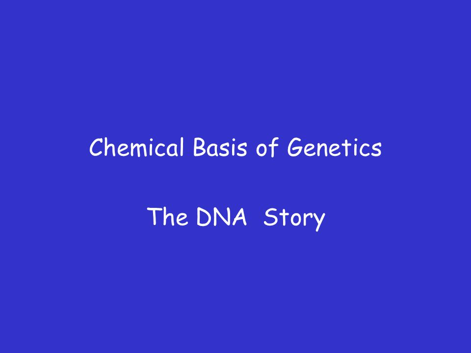 Chemical Basis of Genetics The DNA Story