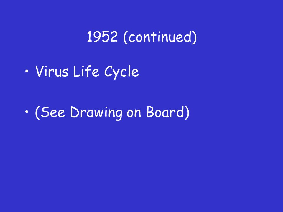 1952 (continued) Virus Life Cycle (See Drawing on Board)