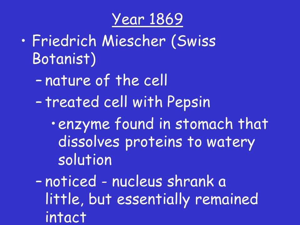 Year 1869 Friedrich Miescher (Swiss Botanist) –nature of the cell –treated cell with Pepsin enzyme found in stomach that dissolves proteins to watery solution –noticed - nucleus shrank a little, but essentially remained intact –Conclusion made?