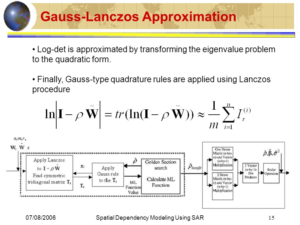 07/08/2006Spatial Dependency Modeling Using SAR 15 Gauss-Lanczos Approximation Log-det is approximated by transforming the eigenvalue problem to the q