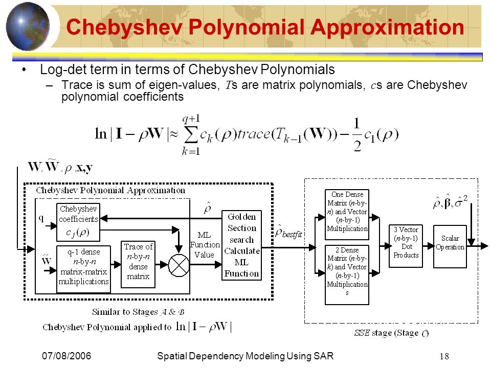 07/08/2006Spatial Dependency Modeling Using SAR 18 Chebyshev Polynomial Approximation Log-det term in terms of Chebyshev Polynomials –Trace is sum of eigen-values, T s are matrix polynomials, c s are Chebyshev polynomial coefficients