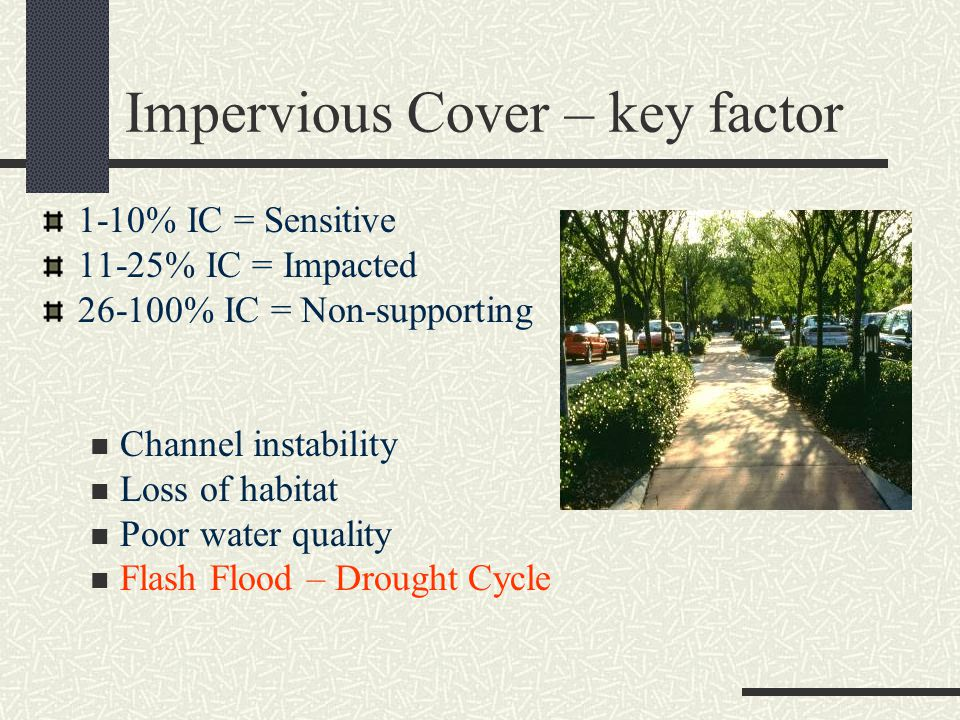 Impervious Cover – key factor 1-10% IC = Sensitive 11-25% IC = Impacted 26-100% IC = Non-supporting Channel instability Loss of habitat Poor water quality Flash Flood – Drought Cycle