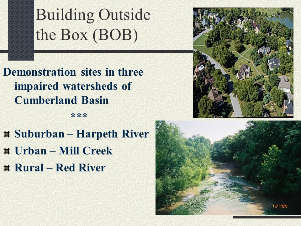 Building Outside the Box (BOB) Demonstration sites in three impaired watersheds of Cumberland Basin *** Suburban – Harpeth River Urban – Mill Creek Rural – Red River