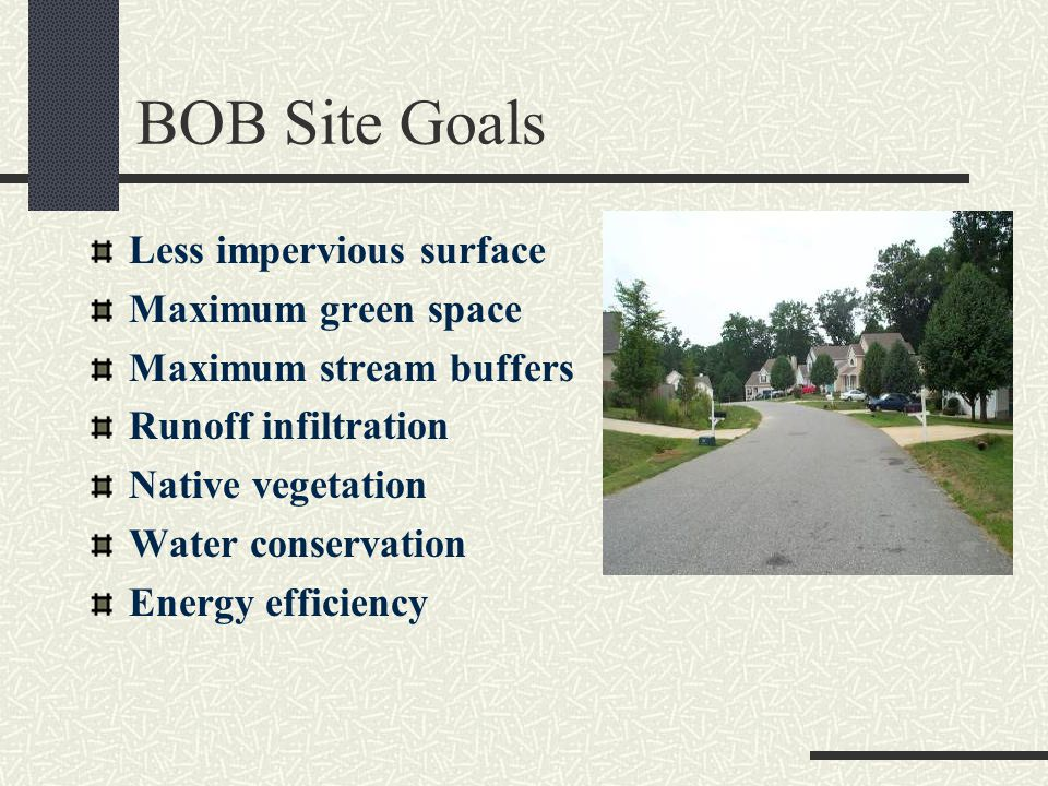 BOB Site Goals Less impervious surface Maximum green space Maximum stream buffers Runoff infiltration Native vegetation Water conservation Energy efficiency