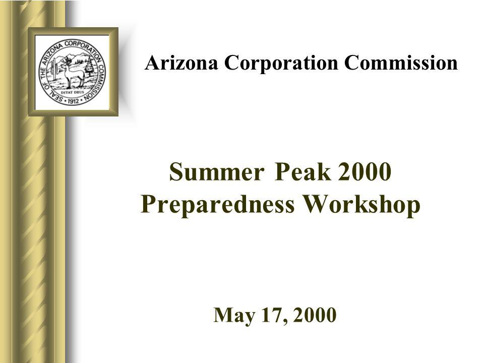 Arizona Corporation Commission Summer Peak 2000 Preparedness Workshop May 17, 20009