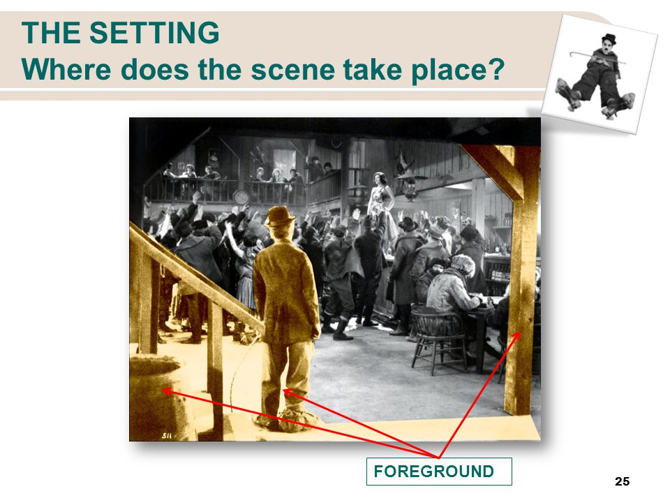 THE SETTING Where does the scene take place 25 FOREGROUND