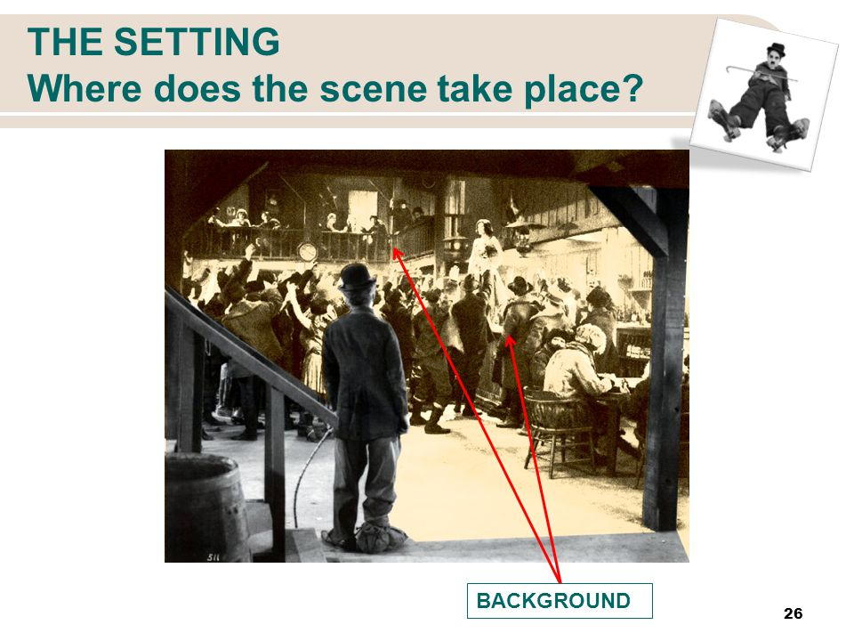 THE SETTING Where does the scene take place 26 BACKGROUND