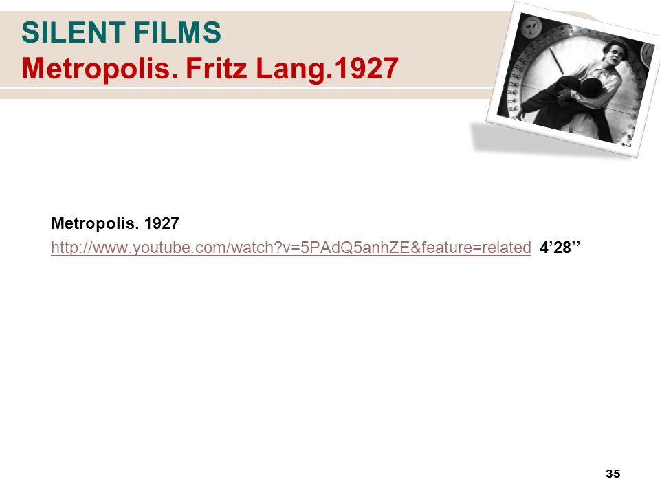 SILENT FILMS Metropolis. Fritz Lang.1927 Metropolis.