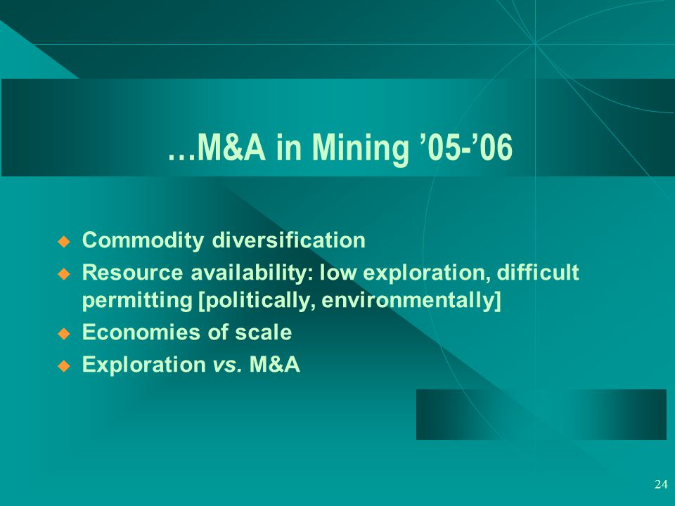 24 …M&A in Mining '05-'06  Commodity diversification  Resource availability: low exploration, difficult permitting [politically, environmentally]  Economies of scale  Exploration vs.