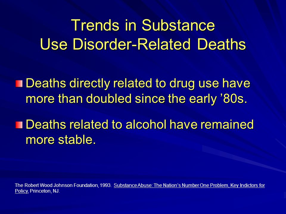 Trends in Substance Use Disorder-Related Deaths Deaths directly related to drug use have more than doubled since the early '80s.