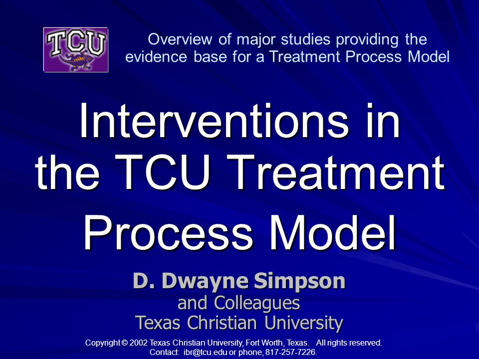 Interventions in the TCU Treatment Process Model D.