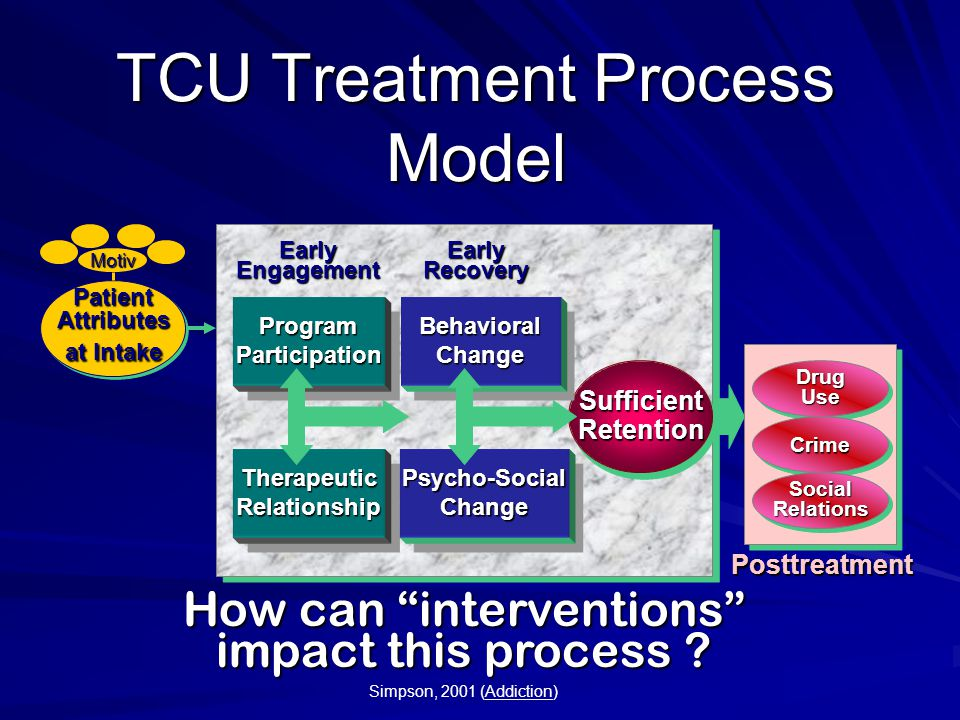 TCU Treatment Process Model SufficientRetentionSufficientRetention EarlyEngagementEarlyRecovery Posttreatment DrugUseDrugUse CrimeCrime SocialRelationsSocialRelations ProgramParticipationProgramParticipation TherapeuticRelationshipTherapeuticRelationship BehavioralChangeBehavioralChange Psycho-SocialChangePsycho-SocialChange PatientAttributes at Intake PatientAttributes Motiv How can interventions impact this process .