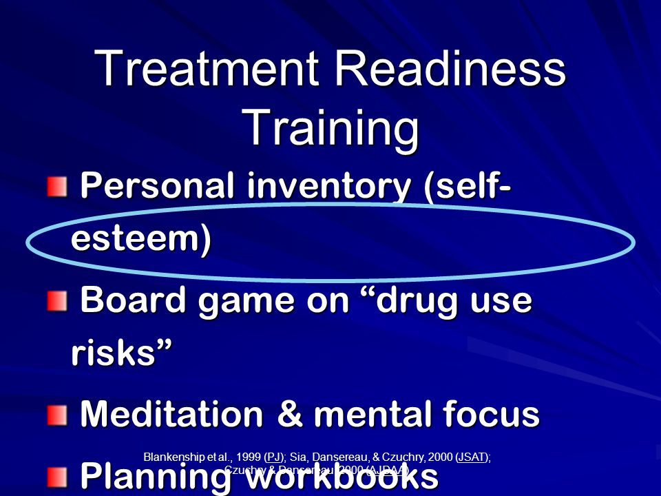 Treatment Readiness Training Personal inventory (self- esteem) Personal inventory (self- esteem) Board game on drug use risks Board game on drug use risks Meditation & mental focus Meditation & mental focus Planning workbooks (cognitive) Planning workbooks (cognitive) Blankenship et al., 1999 (PJ); Sia, Dansereau, & Czuchry, 2000 (JSAT); Czuchry & Dansereau, 2000 (AJDAA)