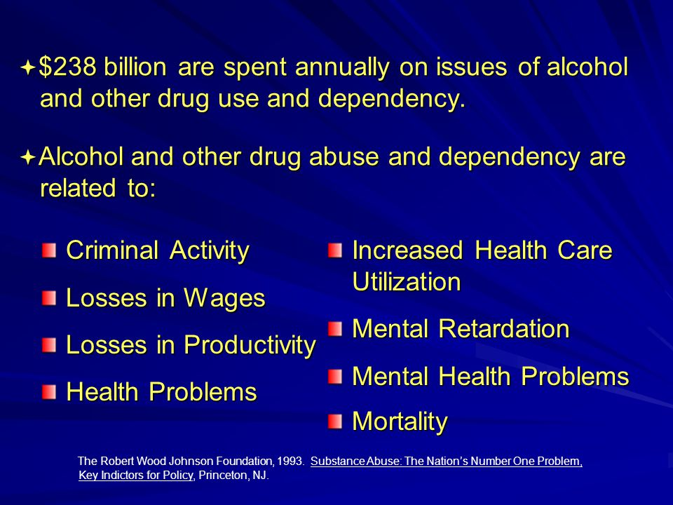  $238 billion are spent annually on issues of alcohol and other drug use and dependency.