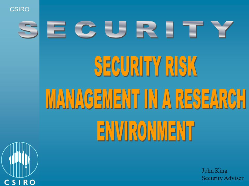 CSIRO John King Security Adviser