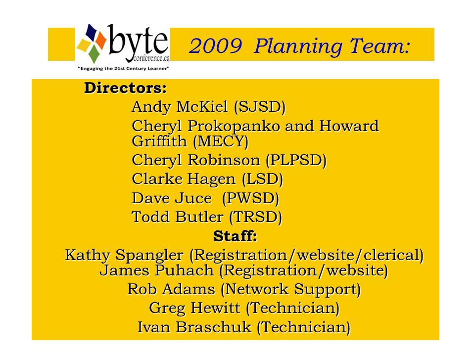 Directors: Andy McKiel (SJSD) Cheryl Prokopanko and Howard Griffith (MECY) Cheryl Prokopanko and Howard Griffith (MECY) Cheryl Robinson (PLPSD) Cheryl